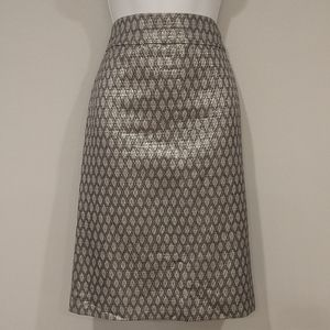 J. Crew metallic wool silk pencil skirt size 10